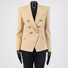 BALMAIN 2150$ Double Breasted Blazer In Beige Wool Twill