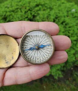 19th Century Antique Pocket Compass W/Lid