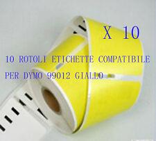 10 X Etichette Compatibili per DYMO 99012 Giallo 89X36mm LABELWRITER 310 320 330