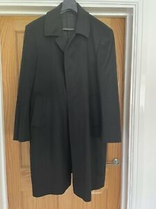 Men's Magee Wool And Cashmere Black Overcoat UK 42.5 Regular