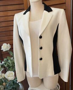 Tahari Separates black white formal suit blazer jacket faux pearl trim size 8