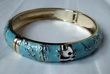 Goldtone Black & White Panda & Bamboo Cloisonné Enamel Aqua Blue Bangle Bracelet