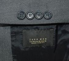 36R Zara Man 2-Piece Slim Fit Suit - Men 36 Charcoal 33x33 w/stain