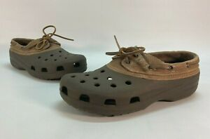 Crocs Islander Pitcrew Men's Size 11 Boat Shoes Brown Leather Top Lace Up