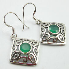 925 Pure Silver Stamped Rare GREEN ONYX Celtic Earrings 3.7 CM COMBINED SHIPPING