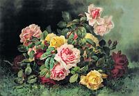 Gathering of Roses by Paul de Longpre (Art Print of Vintage Art) (10x7)