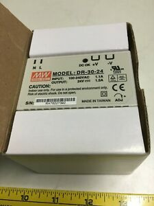 Mean Well Model DR-30-24 new in box 100-240V AC Power Module out 24V 1.5A