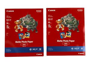 Canon PIXMA Matte Photo Paper 8.5 x 11 Inches 50 Sheets MP101 BRAND NEW Lot of 2
