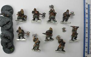 9 DWARF KHAZAD GUARDS 1 damaged Metal Lord of the Rings LOTR Good Dwarfs Army 78