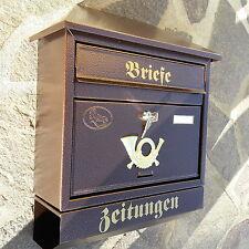 XXL Briefkasten Postkasten Bronze+Zeitungsrolle Nostalgie Zeitungsfach Neu Mail