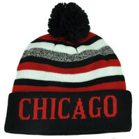 Chicago Pom Pom Cuffed Toque Red Black City State Town Beanie Knit Striped Skull
