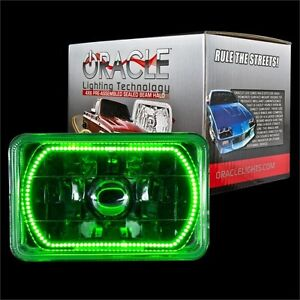 "ORACLE 4""x6"" Sealed Beam Single Headlight + ORACLE Pre-Installed Green SMD Halo"
