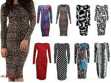 New Womens Ladies Celeb Long Sleeve Animal Print Stretchy Bodycon Midi Dress8-22