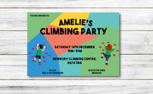 10 *PERSONALISED* invitations CLIMBING WALL BIRTHDAY invites party