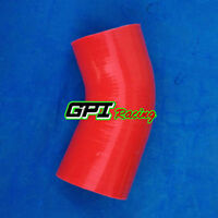 """4"""" Inch 102mm 45 Degree Silicone Elbow Hose Reducer Intercooler TURBO pipe RED"""