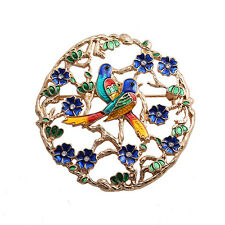 Exquisite Nice Enamel Flower and Lovers Birds Gold Pin Brooch