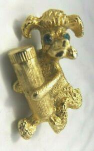 Vintage Costume Petite Figural Brooch Pin Poodle Hydrant Gold tone Rhinestone