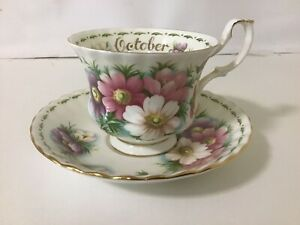 """Royal Albert Flower Of The Month Duo - OCTOBER- """" COSMOS"""" Mint"""