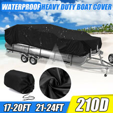 17-20Ft 210D + PU Heavy Duty Waterproof Trailerable Protection Boat Cover Beam