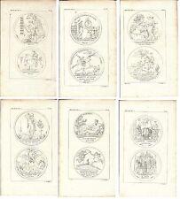 Stampa antica SERIE DI 6 STAMPE CON MEDAGLIE OFFERTA! 1808 Old antique print