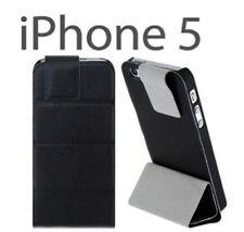 Funda tapa MAGNETICA FLIP iPhone 5 5S negro PU/Plastico solapa Stand soporte pie
