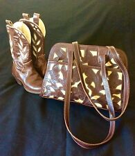 Vintage Western Purse-Tooled Leather Floral Overlay Brown & Cream