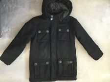 M&S BLACK WOOL BLEND JACKET WITH HOOD & 4 SQUARE BUTTONED POCKETS - AGE 9-10y