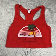 Vintage 1986 Red Palm Springs California Cropped Womens Tank Top