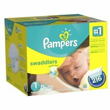 Pampers Swaddlers Disposable Diapers Newborn Size 1 (8-14 lb), 216 Count