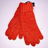 Charlie Paige Womens Gloves One Size Orange Metallic Fashion Warm Winter New KO5