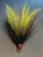 2 pack 5/0 Mustad Dressed Musky Pike Bucktail Teaser Treble Hooks - Gr Olive Bk