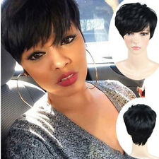 Pixie Wig Short Cut Ladies Cosplay Party Straight Black Hair + Wig Cap Trendy