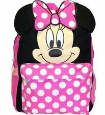 """Disney 12"""" Minnie Mouse Face Back to School Backpack Small Bag with 3D Ear"""