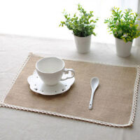 Burlap Placemats Dinner Table Pads Jute Table Mat Kitchen Dining Table Decor DB