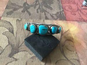 Silver 5 Stone Turquoise Bracelet