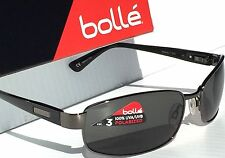NEW* Bolle DELANCEY Gunmetal Matte BLACK Satin Grey Polarized Sunglass 11300c