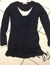 linea TESINI*Shirt * langarm * Lagen * Long * Gr. 40 * Fb.blau/weiß TOP Zustand