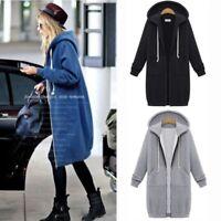Women Fall Hoody Hoodies Warm Zipper Sweatshirt Long Coat Jacket Tops Sweat ILC