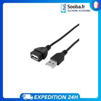 Cable rallonge USB 2.0 A male vers femelle pour charge et  transfert 1m NOIR