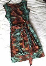 Gorgeous Awear Shift Dress 8 Knee Length Tie Dye Teal/orange/black/red Tie Waist