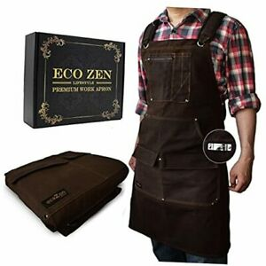 Woodworking Shop Apron - 16 oz Waxed Canvas Work Aprons | Metal Tape Brown