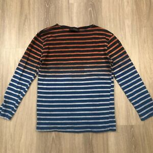 Le minor Womens Size 2 Navy Ombre Long Sleeve Striped T Shirt Top Cotton