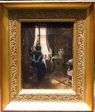 """Huile / Toile 1918 - Géo Baier """"L'attente à la fenêtre"""" - 23,5 x 18 cm"""