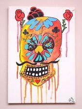 "Original modern Surrealism art Painting on canvas "" Sugar Skull "" 25x35cm  ART"