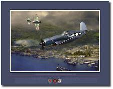 Gunfight Over Rabaul  by Jack Fellows - F4U Corsair - Aviation Art Prints