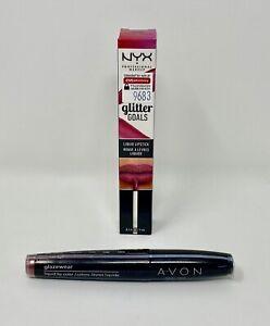 Lot of 2 Liquid Lipsticks - NYX Glitter Goals & Avon Glazewear / Brand New