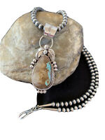 Navajo Pearls Sterling Silver Green Royston Turquoise Necklace Pendant Gift 949