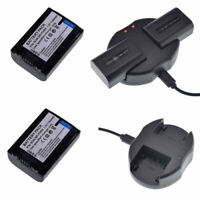 2 NP-FH40 Battery+USB Charger FOR SONY Handycam DCR-HC28 HC30 HC30E HDR-XR500V