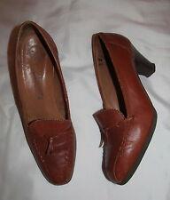 vintage SALAMANDER cognac  brown elegant retro look whip stitch detail shoes 7 M