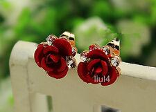 Fashion Elegant 18K GP Gold Crystal Red Rose Flower Stud Earrings